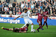 Swansea city's Luke Moore © shoots and scores the first goal to make it 1-0.   Barclays premier league, Swansea city v Newcastle Utd at  the Liberty stadium in Swansea, South Wales on Saturday 2nd March 2013. pic by  Andrew Orchard, Andrew Orchard sports photography,