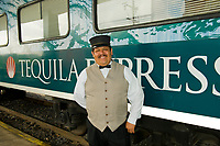 Conductor, Tequila Express train at the station in Guadalajara, Mexico