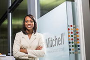 Sheerah Davis, Vice President of Human Resources with Mitchell Communications Group, poses for a photo in Fayetteville, Arkansas.