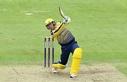 Liam Dawson of Hampshire hits over the top - Mandatory by-line: Robbie Stephenson/JMP - 19/06/2016 - CRICKET - Cooper Associates County Ground - Taugnton, United Kingdom - Somerset v Hampshire - NatWest T20 Blast