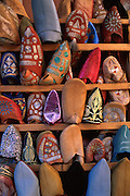 Handmade leather slippers for sale in the bazar come in all shades and designs, old Medinah, Marrakesh