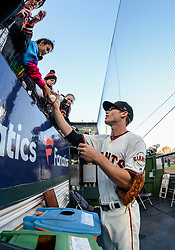 April 30, 2018 - San Francisco, CA, U.S. - SAN FRANCISCO, CA - APRIL 30: San Francisco Giants Infield Kelby Tomlinson (37) signing autographs before the San Francisco Giants and San Diego Padres game on April 30, 2018 at AT&T Park in San Francisco, CA. (Photo by Stephen Hopson/Icon Sportswire) (Credit Image: © Stephen Hopson/Icon SMI via ZUMA Press)