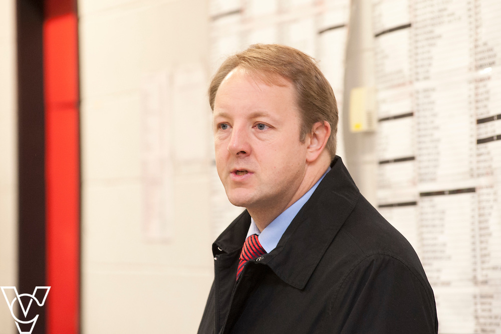 Toby Perkins MP talks to the whole workforce during his visit to the Royal Mail's Staveley Delivery Office, in Chesterfield.<br /> <br /> Date: November 28, 2014