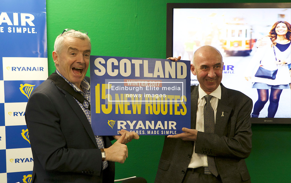 Pictured: Michael O'Leary and Sir John Elvidge, Chairman of Edinburgh Airport.<br /> Michael O'Leary announces the introduction of 13 new Edinburgh routes and 2 new Glasgow routes. The routes will be introduced for winter 2017. However, O'Leary confirmed that the continuation of some of these routes would be conditional on the Scottish Government implementing the Air Passenger Duty reductions promised in the manifesto.