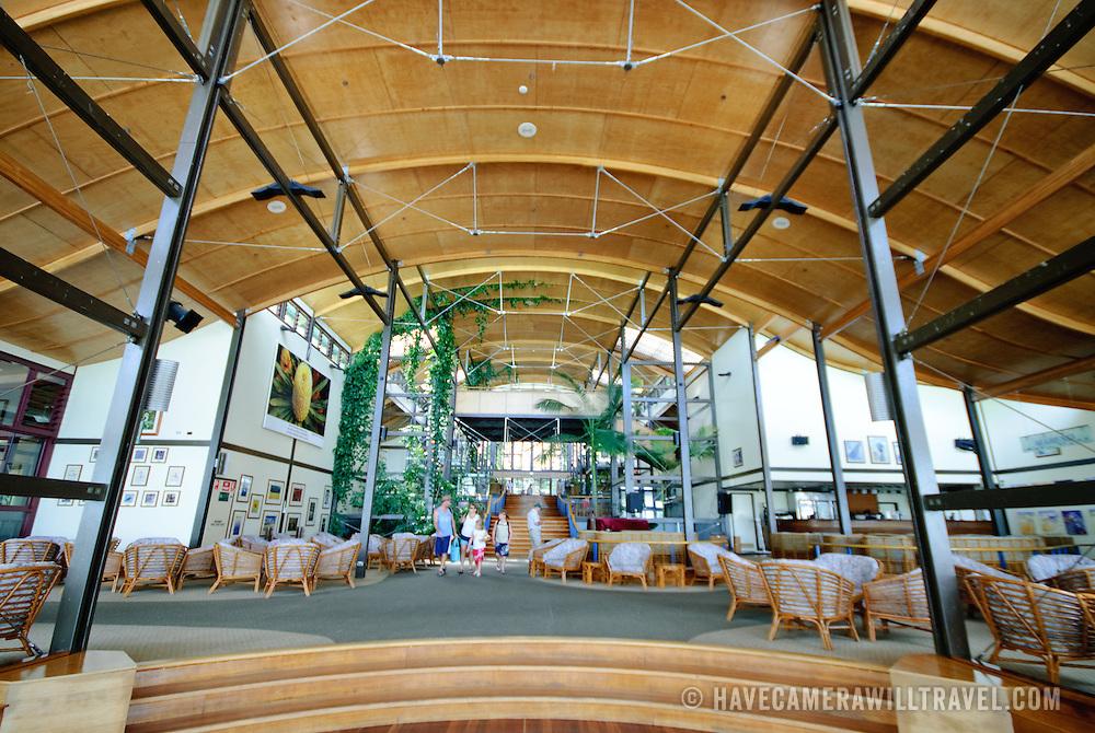 Interior of the main foyer of Kingfisher Bay Resort on Fraser Island, Queensland, Australia