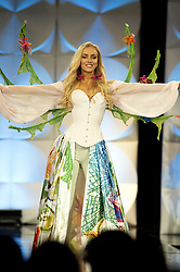 December 6, 2019, Atlanta, GA: Anni Harjunpaa, 23, in native costume competition segment of  preliminary judging for the 2019 Miss Universe pageant begins. She hadnt entered any beauty pageants  until this year, when she was crowned Miss Finland. (Credit Image: © Robin Rayne/ZUMA Wire)