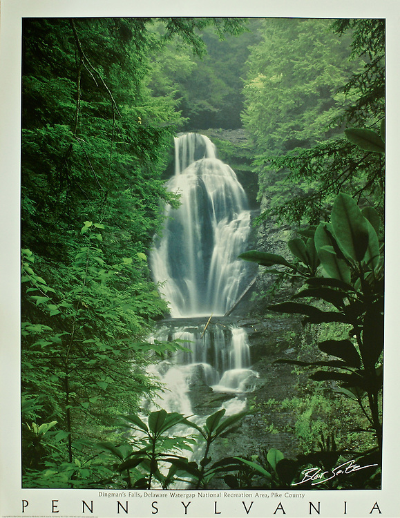 """Poster of Dingman's Falls at Delaware Water Gap National Recreation Area, Pike County. White border with """"Pennsylvania"""" at bottom with space for frame."""
