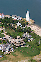 Aerial of Lynde Point Light marks the inner harbor at the mouth of the Connecticut River, Old Saybrook,CT