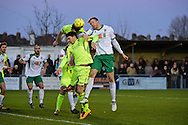 Bognor Regis Town forward Jimmy Wild (9) up for the challenge during the Ryman Premier League match between Bognor Regis Town and Havant & Waterlooville FC at Nyewood Lane, Bognor, United Kingdom on 26 December 2016. Photo by Jon Bromley.