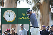 Wyndham Clark plays his shot from the ninth tee during the Genesis Invitational third round at Riviera Country Club, Saturday, Feb. 15, 2020, in the Pacific Palisades area of Los Angeles.