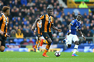 Alfred N'Diaye of Hull City makes a break. Premier league match, Everton v Hull city at Goodison Park in Liverpool, Merseyside on Saturday 18th March 2017.<br /> pic by Chris Stading, Andrew Orchard sports photography.
