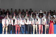 """Henley on Thames, United Kingdom, 8th July 2018, Sunday, View,  """"Fifth day"""", of the annual,  """"Henley Royal Regatta"""", Henley Reach, River Thames, Thames Valley, England, © Peter SPURRIER, Prize Giving, The Thames Challenge Cup - 2018<br /> Thames Rowing Club"""