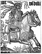 Godfrey de Bouillon (c1060-1100) French crusader wearing the symbols of Christ's passion in his helmet during the First Crusade. Elected ruler of Jerusalem 1099. 15th century woodcut.