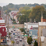 """A view of U.S. Route 40 (""""The National Road"""") in downtown Hagerstown, Maryland, on Tuesday, September 26, 2017. The road was originally built in 1810 and connected Cumberland in western Maryland with Baltimore. Originally a District that was mostly rural, but included towns like Frederick and Hagerstown, Maryland's 6th District was redistricted in 2011, combining rural northern Maryland regions with more affluent communities like near Washington D.C. turning the district from Republican to Democrat. <br />  <br /> CREDIT: John Boal for The Wall Street Journal<br /> GERRYMANDER"""