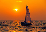Sailing on Lake Ontario at sunset<br />