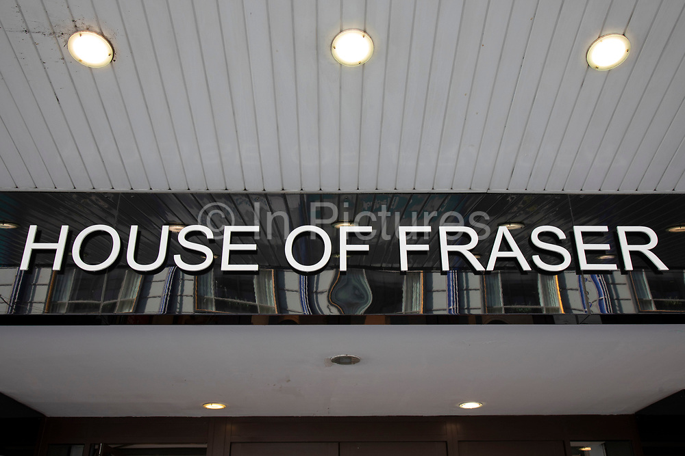 Sign for the department store brand House of Fraser in Birmingham, United Kingdom.