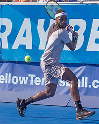 February 25, 2018 - Delray Beach, FL, US - FRANCIS TIAFOE (US) in action on court in the Delray Beach Open Men's Single Final at the Delray Beach Tennis Stadium. TIAFOE won beating PETER.GOJOWCZYK (Ger) 6-1, 6-4. (Credit Image: © Arnold Drapkin via ZUMA Wire)