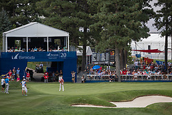 August 5, 2018 - Reno, Nevada, U.S - Sunday, August 5, 2018.AARON BADDELEY wraps up his tournament on the 18th green during the 2018 Barracuda Championship at the Montreux Golf & Country Club. ..The Barracuda Championship Golf Tournament is one of only 47 stops on the PGA Tour worldwide, and has donated nearly $4 million to charity since 1999. Opened in 1997, the par-72 course was designed by Jack Nicklaus, plays at 7,472 yards (6,832 m) and its average elevation is 5,600 feet (1,710 m) above sea level...The Montrux Golf and Country Club is located midway between Reno and Lake Tahoe...The tournament champion, Andrew Putnam, received a check in the amount of $612,000. (Credit Image: © Tracy Barbutes via ZUMA Wire)