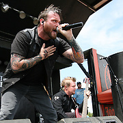 Ryan Hoke of the band Candlelight Red performs during the Rockstar Energy Drink Festival at the 1-800-Ask-Gary amphitheater in Tampa, Florida on Thursday, September 13, 2012. (AP Photo/Alex Menendez)