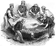 Beaver hats; 'felting' the body of the hats in the 'kettle'. Mercury was used during the manufacture and many hatters suffered from the uncontrollable shaking typical of mercury poisoning. From 'The Penny Magazine', London, 1841. Woodcut