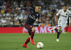 May 9, 2019 - Valencia, Valencia, Spain - Player of Arsenal in action during UEFA Europa League football match, between Valencia and Arsenal, May 09th, in Mestalla stadium in Valencia, Spain. (Credit Image: © AFP7 via ZUMA Wire)