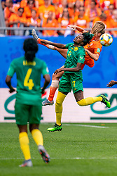 15-06-2019 FRA: Netherlands - Cameroon, Valenciennes<br /> FIFA Women's World Cup France group E match between Netherlands and Cameroon at Stade du Hainaut / Gaëlle Enganamouit #17 of Cameroon, Desiree van Lunteren #2 of the Netherlands