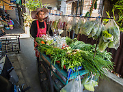 06 FEBRUARY 2015 - BANGKOK, THAILAND: A vegetable vendor goes door to door in the Santa Cruz neighborhood in the Thonburi section of Bangkok. There has been a Catholic church on the site since 1770. The current church was finished in 1916. It is one of the oldest Catholic churches in Thailand. Now the neighborhood around the church is known for the Thai adaptation of Portuguese cakes baked in the neighborhood. Several hundred Siamese (Thai) Buddhists converted to Catholicism in the 1770s. Some of the families started baking the cakes. When the Siamese Empire in Ayutthaya was sacked by the Burmese, the Portuguese and Thai Catholics fled to Thonburi, in what is now Bangkok. The Portuguese established a Catholic church near the new Siamese capital. There are still a large number of Thai Catholics living in the neighborhood around the church.    PHOTO BY JACK KURTZ