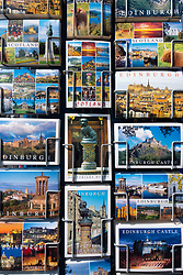 Detail of tourist postcards for sale in Old Town of Edinburgh , Scotland, UK