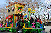 New York, USA.  28th November 2013. Jimmy Fallon and the Roots on the Sesame Street float during the 87th Annual Macy's Thanksgiving Day Parade.
