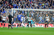 Chelsea's Eden Hazard (blue 10) shoots and scores Chelsea's third goal. The Emirates FA Cup semi-final match, Chelsea v Tottenham Hotspur at Wembley Stadium in London on Saturday 22nd April 2017.<br /> pic by Carl Robertson,  Andrew Orchard sports photography.