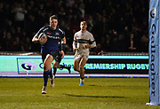 Sale Sharks Sam James runs in to score his second try during a Gallagher Premiership Rugby Union match won by Sharks 39-0, Friday, Mar. 6, 2020, in Eccles, United Kingdom. (Steve Flynn/Image of Sport)