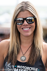 Custom bike builder Krystal Hess at the Flying Piston Builder Breakfast at the Buffalo Chip during the 78th annual Sturgis Motorcycle Rally. Sturgis, SD. USA. Sunday August 5, 2018. Photography ©2018 Michael Lichter.