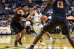 Jan 12, 2019; Morgantown, WV, USA; West Virginia Mountaineers guard James Bolden (3) drives down the lane during the second half against the Oklahoma State Cowboys at WVU Coliseum. Mandatory Credit: Ben Queen-USA TODAY Sports