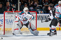 KELOWNA, CANADA - FEBRUARY 10: Brodan Salmond #31 of the Kelowna Rockets defends the net against the Vancouver Giants on February 10, 2017 at Prospera Place in Kelowna, British Columbia, Canada.  (Photo by Marissa Baecker/Shoot the Breeze)  *** Local Caption ***