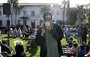 January 19, 2009 - Santa Barbara, CA: CA: Santa Barbara Honors Dr. Martin Luther King, Jr. with a morning program at De la Guerra Plaza.  Kevin McKiernan video tapes the event. (Photo by Rod Rolle)