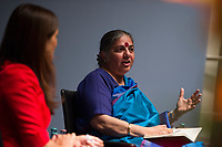 DEU, Deutschland, Germany, Berlin, 23.04.2015: Indian environmental activist and anti-globalization author Dr. Vandana Shiva speaking at the International Week for Justice, Friedrich-Ebert-Stiftung Berlin.