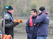 Putney. London. Tideway Week build up to the   2012 University Boat Race over parts of the Championship Course - Putney to Mortlake. Assistant Boat Race Umpire, Matthew PINSENT (Left), with Boat Race Umpire, John GARRETT (Centre) and Isis Goldie Umpire, Richard PHELPS (Right). Thursday  05/04/2012 [Mandatory Credit; Karon Phillips/Intersport-images]..