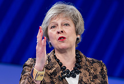 November 19, 2018 - London, United Kingdom - British Prime Minister THERESA MAY is seen addressing a speech during the CBI Annual Conference 2018 at InterContinental Hotel, The O2. (Credit Image: © Gustavo Valiente/i-Images via ZUMA Press)