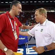 Ukraine's coach Mike FRATELLO (R) and Montenegro's coach Dejan RADONNIC (L) during their Istanbul CUP 2011match played Ukraine between Montenegro at Abdi Ipekci Arena in Istanbul, Turkey on 24 August 2011. Photo by TURKPIX