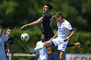 Hawkes Bay United's Karan Mandair and Hamilton Wanderers Brad Whitworth go for a high ball in the Handa Premiership football match, Hawke's Bay United v Hamilton Wanderers, Bluewater Stadium, Napier, Sunday, November 15, 2020. Copyright photo: Kerry Marshall / www.photosport.nz