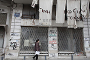 Many shops closed down in the center of Athens