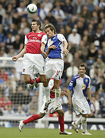 Photo: Aidan Ellis.<br /> Blackburn Rovers v Arsenal. The FA Barclays Premiership. 19/08/2007.<br /> Arsenal's Robin Van Persie beats Blackburn's Morten Gamst Pedersen to the header