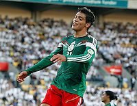 Mexico's Raul Jimenez against New Zealand in the World Cup Football qualifier, Westpac Stadium, Wellington, New Zealand, Wednesday, November 20, 2013.