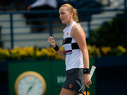 February 19, 2019 - Dubai, ARAB EMIRATES - Petra Kvitova of the Czech Republic in action during her second-round match at the 2019 Dubai Duty Free Tennis Championships WTA Premier 5 tennis tournament (Credit Image: © AFP7 via ZUMA Wire)