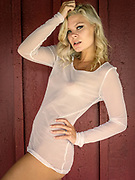 Sexy blond haired woman in a sheer white top posing in front of a red barn wall