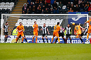 Declan Gallagher of Livingston with a diving header during the Ladbrokes Scottish Premiership match between St Mirren and Livingston at the Simple Digital Arena, Paisley, Scotland on 2nd March 2019.
