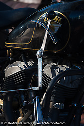 Bartek Mizerski's 1936 Sokol 1000 Polish motorcycle at the Old Town Museum in Burlington, Colorado for the hosted dinner stop during Stage 8 of the Motorcycle Cannonball Cross-Country Endurance Run, which on this day ran from Junction City, KS to Burlington, CO., USA. Saturday, September 13, 2014.  Photography ©2014 Michael Lichter.