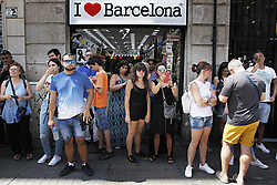 August 18, 2017 - Barcelona, Spain, August 18, 2017 : atmospheric view of the Rambla of Barcelona in shock after a terrorist white van running over tourist pedestrians walking down the Rambla on August 17, 2017 around 05:00pm. Photo credit : Marc Javierre-Kohan / Aurimages (Credit Image: © Marc Javierre Kohan/Aurimages via ZUMA Press)