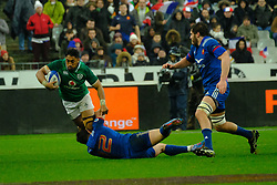 February 3, 2018 - Saint Denis, Seine Saint Denis, France - The Center of Irish team BUNDEE AKI in action during the NatWest Six Nations Rugby tournament between France and Ireland at the Stade de France - St Denis - France..Ireland Won 15-13 (Credit Image: © Pierre Stevenin via ZUMA Wire)