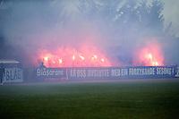 1. divisjon fotball 2014: Hødd - Tromsdalen. Hødds supportere med pyroshow før 1. divisjonskampen mellom Hødd og Tromsdalen på Høddvoll.